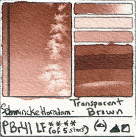 PBr41 Schmincke Horadam Watercolor Transparent Brown Professional Paint Color Chart