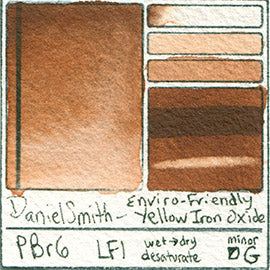 PBr6 Daniel Smith Watercolor Enviro-Friendly Yellow Iron Oxide Color Pigment Granulating Swatch Database Card