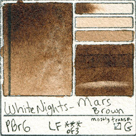 PBr6 White Nights Mars Brown Watercolor Pigment Swatch Database Card Color Art