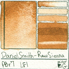 PBr7 Daniel Smith Watercolor Raw Sienna Color Pigment Granulating Swatch Database Card