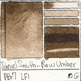 PBr7 Daniel Smith Watercolor Raw Umber Color Pigment Granulating Swatch Database Card