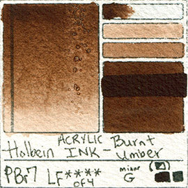PBr7 Holbein ACRYLIC INK Burnt Umber pigment swatch card color colour database