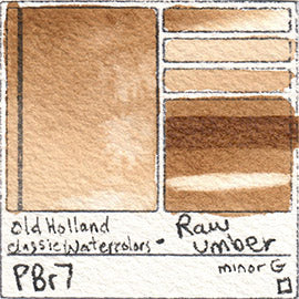 PBr7 Old Holland Classic Watercolors Raw Umber swatch pigment dark paint art pro grade