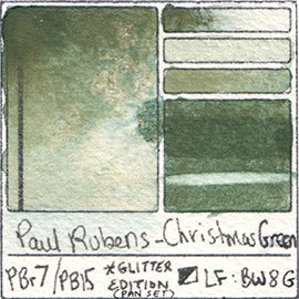 PBr7 PB15 Paul Rubens Hint of Glitter Pan Set Watercolor Christmas Green Swatch Card Color Chart