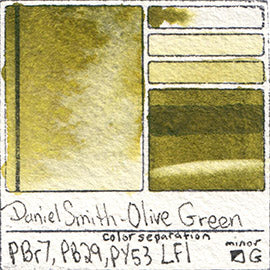 PBr7 PB29 PY53 Daniel Smith Watercolor Olive Green Color Pigment Granulating Swatch Database Card
