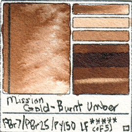 PBr25 PBY150 PR112 Mission Gold Watercolor Burnt Sienna Art Pigment Database