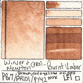 PBr7 PR101 PY42 Winsor and Newton Professional Burnt Umber Watercolor Swatch Card Color Chart