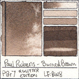 PBr7 Paul Rubens Hint of Glitter Pan Set Watercolor Burned Brown Swatch Card Color Chart