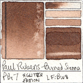 PBr7 Paul Rubens Hint of Glitter Pan Set Watercolor Burned Sienna Swatch Card Color Chart