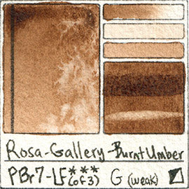 PBr7 Rosa Gallery Burnt Umber Watercolor Paint Pigment Database Handprint Color Chart