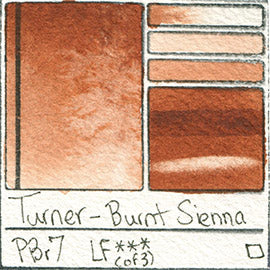 PBr7 Turner Watercolor Burnt Sienna Color Pigment Database Swatch Card