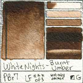 PBr7 White Nights Burnt Umber Watercolor Pigment Swatch Database Card Color Art