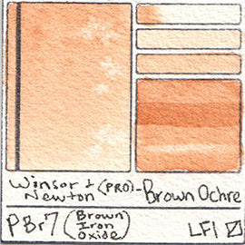 PBr7 Winsor and Newton Professional Brown Ochre Watercolor Swatch Card Color Chart