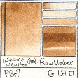 PBr7 Winsor and Newton Professional Raw Umber Watercolor Swatch Card Color Chart