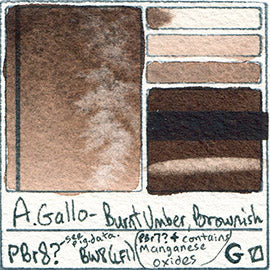 PBr8 A Gallo Burnt Umber Brownish water color pigment database swatch test card light fast