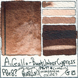 PBr8 A Gallo Burnt Umber Cypress natural plant water color pigment database swatch test card light fast