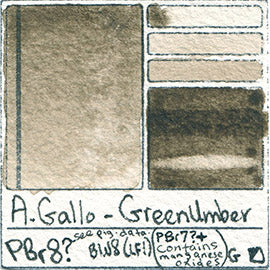 PBr8 A Gallo Green Umber water color pigment database swatch test card light fast