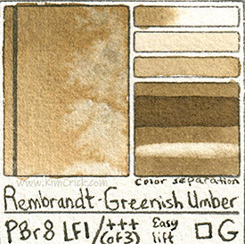 PBr8 Greenish Umber Rembrandt watercolor swatch card professional rare pigment