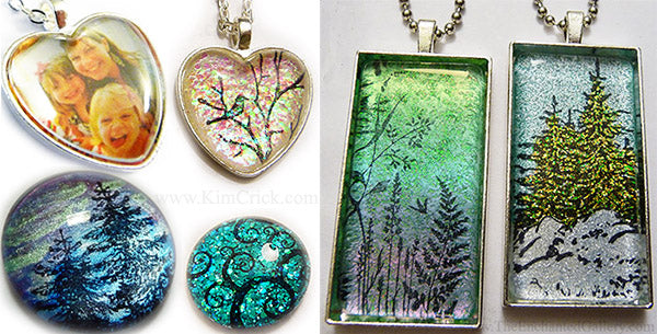 Glass insert blank pendant tray jewelry DIY glitter dichroic glass easy craft project sell at home