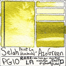 PG10 Selah Paint Company Azo Green pigment database swatch card water color watercolor art color