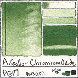 PG17 A Gallo Chromium Oxide pigment database swatch card water color watercolor art color