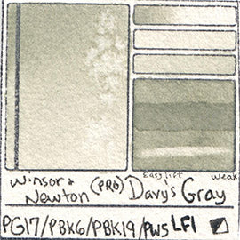 PG17 PBk6 PBk19 PW5 Winsor and Newton Professional Davy's Gray Watercolor Swatch Card Color Chart