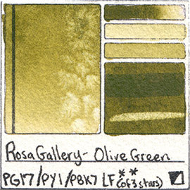 PG17 PY1 PBk7 Rosa Gallery Watercolor Olive Green Pigment Database Color Chart Swatch Card