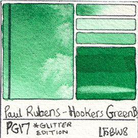 PG17 Paul Rubens Hint of Glitter Pan Set Watercolor Hooker's Green Swatch Card Color Chart