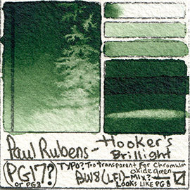 PG17 Paul Rubens Standard Pan set Hooker's Brillight art swatch card color pigment database stain test masstone diluted