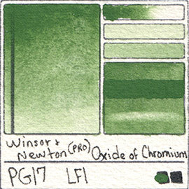 PG17 Winsor and Newton Professional Oxide of Chromium Watercolor Swatch Card Color Chart