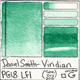 PG18 Daniel Smith Viridian Pigment Database Green Paint Swatch
