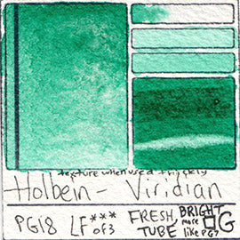 PG18 Holbein Watercolor Viridian Watercolour swatch color chart card pigment