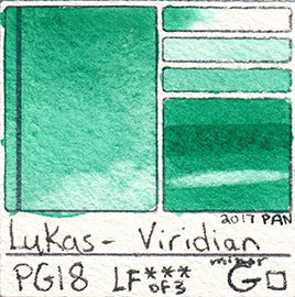 PG18 Lukas 1862 watercolor VIRIDIAN pigment swatch card paint watercolour green