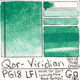 PG18 Qor Watercolor Viridian Green Pigment paint swatch card color chart granulating