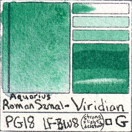 PG18 Roman Szmal Viridian Green Aquarius Watercolor Paint Color Chart Swatch
