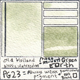 PG23 Old Holland Classic Watercolors Green Earth swatch pigment dark paint art pro grade