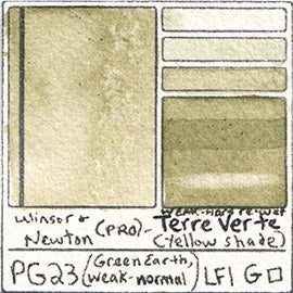 PG23 Winsor and Newton Professional Terre Verte YS Watercolor Swatch Card Color Chart
