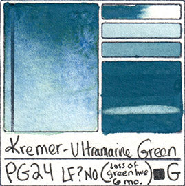PG24 Kremer Pigments Ultramarine Green Ready Made Watercolor Paint Swatch Card
