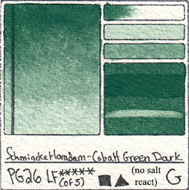 PG26 Schmincke Horadam Cobalt Green Dark Watercolor Swatch Card Color Chart