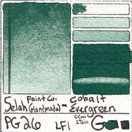 PG26 Selah Paint Company Cobalt Evergreen pigment database swatch card water color watercolor art color