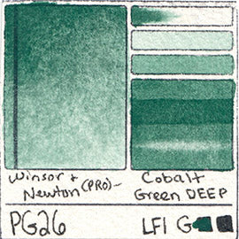 PG26 Winsor and Newton Professional Cobalt Green Deep Watercolor Swatch Card Color Chart