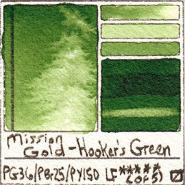 PG36 PBr25 PY150 Mission Gold Watercolor Hooker's Green Art Pigment Database