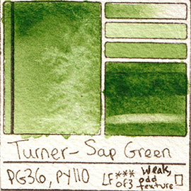 PG36 PY110 Turner Watercolor Sap Green Color Pigment Database Swatch Card
