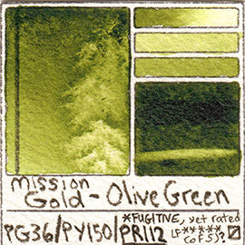 PG36 PY150 PR112 Mission Gold Watercolor Olive Green Art Pigment Database
