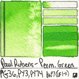 PG36 PY3 PY74 Paul Rubens Standard Pan set Permanent Green art swatch card color pigment database stain test masstone diluted