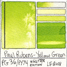 PG36 PY74 Paul Rubens Hint of Glitter Pan Set Watercolor Yellow Green Swatch Card Color Chart