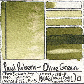 PG36 Paul Rubens Standard Pan set Olive Green art swatch card color pigment database stain test masstone diluted