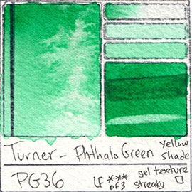 PG36 Turner Watercolor Phthalo Green YELLOW SHADE Color Art Pigment Database Swatch Card