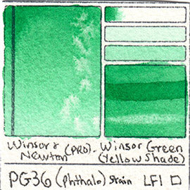 PG36 Winsor and Newton Professional Winsor Green YS Watercolor Swatch Card Color Chart
