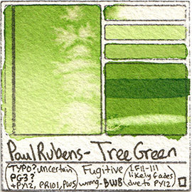 PG3 Paul Rubens Standard Pan set Tree Green art swatch card color pigment database stain test masstone diluted